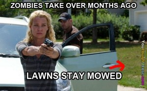 The Walking Dead yard mowed continuity error