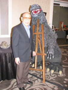 Haruo Nakajima poses with Godzilla. Photo courtesy Armand Vaquer.